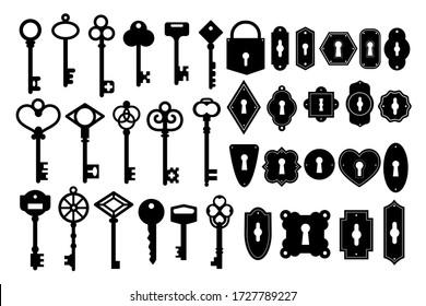 Key silhouette. Vintage key skeleton and keyhole silhouette vector set. Heart shape black key isolated on white background.