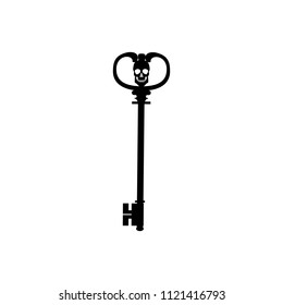 Key with skull icon isolated on white background