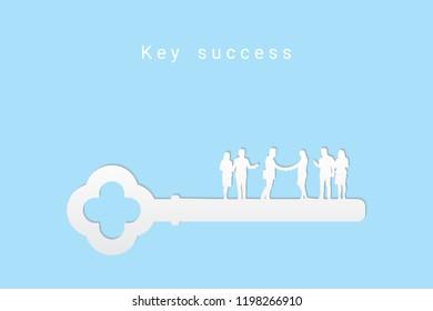 Key to success 3d on blue background. Key concept.  Eps10 Vector illustration.