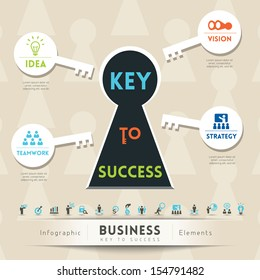 Key to Success in Business Keyhole Conceptual Illustration with Icons