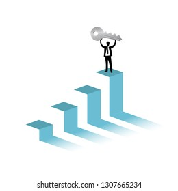 key to success graph and businessman illustration design graphic over a white background
