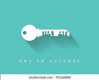 Key to success is in teamwork and communication business vector concept. Eps10 vector illustration.