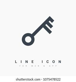 key symbol line vector icon