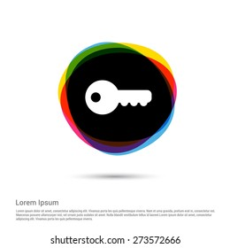 Key symbol password icon, White pictogram icon on multi color circle creative Multicolored background. Vector illustration. Flat design style. Flat icon, monotone icon