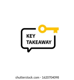 Key Takeaway speech bubble icon. Clipart image isolated on white background