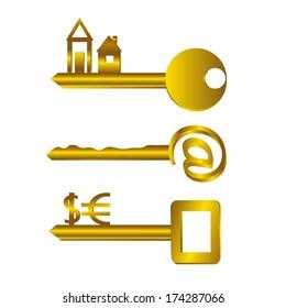 Key. Three golden keys, home, mail, and money.