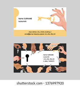 Key vector business card hand holding house keys lock for safety and home security protection locked secure backdrop interlock lockout keyed locking car system illustration business-card background.