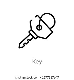 key vector line icon. Simple element illustration. key outline icon from strategy concept. Can be used for web and mobile