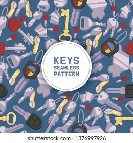 Key vector seamless pattern house keys lock for safety and home security protection locked secure backdrop interlock lockout keyed locking car system illustration background.