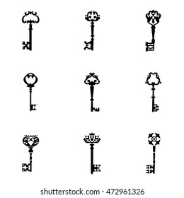 Key vector set. Simple key shape illustration, editable elements, can be used in logo design