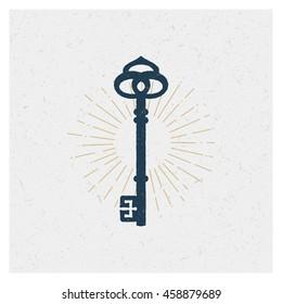 Key. Vector Typography Poster Design Concept. Hand drawn textured vintage label.  Retro badge. Emblem. Vintage style.