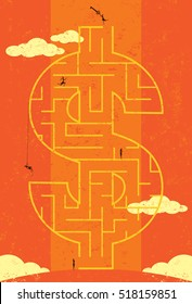 Key to Wealth Maze. Businesswomen looking for the key to wealth in a dollar symbol maze.