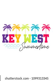key west florida beach palm tree colorful distress vacations apparel poster