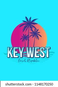 key west florida conch republic colorful sunset retro vintage poster palm tree