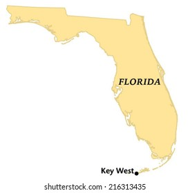 Key West, Florida locate map