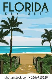 Key West Florida Vector Illustration Background. Travel to Key West Florida United States. Flat Cartoon Vector Illustration in Colored Style.