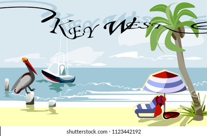 Key West - is an island and city in the Straits of Florida on the North American.Key West is the southernmost city in the United States.Vector image.EPS 8.