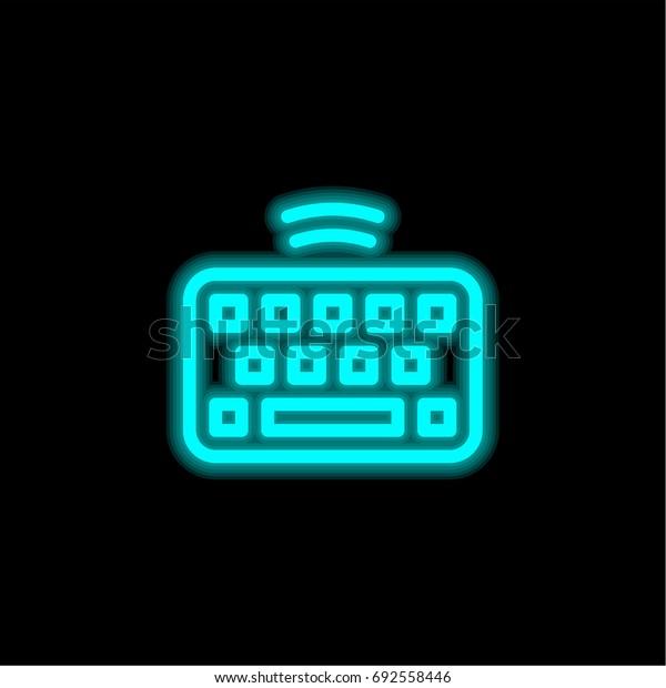 Keyboard blue glowing neon ui ux icon. Glowing sign logo vector