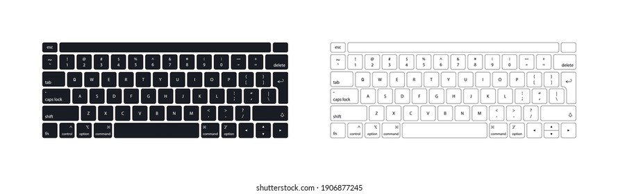 Keyboard of computer, laptop. Modern key buttons for pc. Black, white keyboard isolated on white background. Icons of control, enter, qwerty, alphabet, numbers, shift, escape. Realistic mockup. Vector