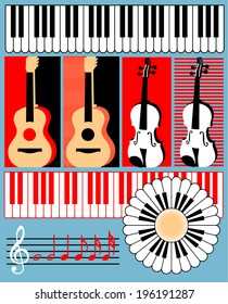 Keyboard, guitar, violin, treble clef, note - vector symbols