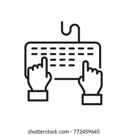 keyboard hand vector icon