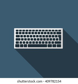 Keyboard icon. Flat design style modern vector illustration. Isolated on stylish color background. Flat long shadow icon. Elements in flat design.