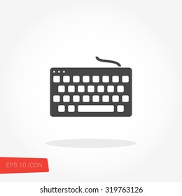Keyboard Isolated Flat Web Mobile Icon / Vector / Sign / Symbol / Button / Element / Silhouette