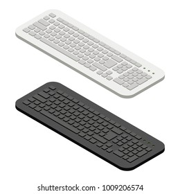 KEYBOARD ISOMETRIC IN WHITE AND BLACK COLOR