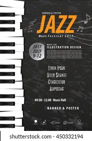 Keyboard, Musical instrument design realistic style and A4 poster music festival layout for commercial vector. Musical instrument and music concept.