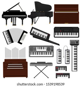 Keyboard musical instrument vector musician equipment piano of orchestra synthesizer accordion classical pianoforte organ illustration. Set of music key board forte-piano isolated on white background.