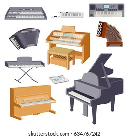 Keyboard musical instruments isolated on white classical musician equipment vector illustration