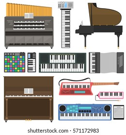 Keyboard musical instruments vector illustration.