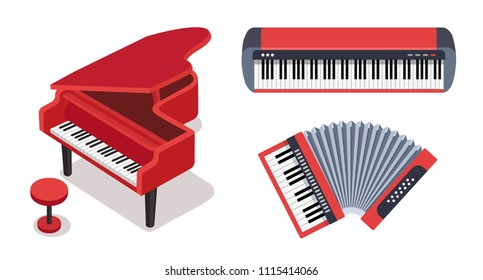 Keyboard musical instruments vector set. Classical piano with stool, electric piano, accordion isolated on white background. Cute flat cartoon style. Vector illustration