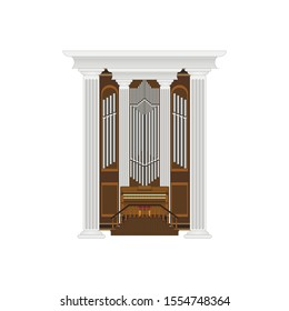 keyboard organ with trumpets on a white background