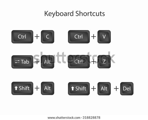 Keyboard Shortcuts Keys Keyboard Shortcuts Keys Stock Vector