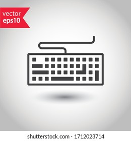 Keyboard vector icon. Computer keyboard icon. Keyboard linear sign. EPS 10 clavier flat symbol pictogram.