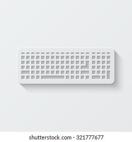 keyboard vector icon - paper illustration