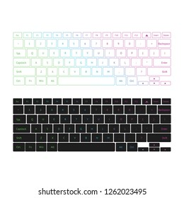 Keyboard vector set with the white and black backgrounds