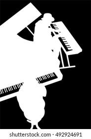 Keyboards people of jazz on black background