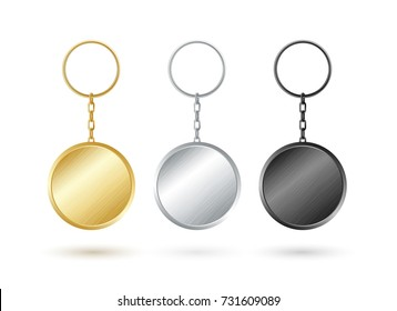 Keychain collection. Round shape. Golden,silver and black metallic keyholders.