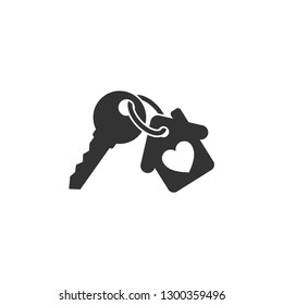 Keychain with key ring and a pendant house locket. Key chain with house with heart locket vector icon.