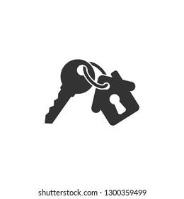 Keychain with key ring and a pendant house locket. Key chain with house with keyhole locket vector icon.