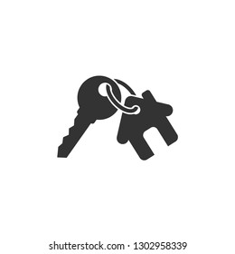 Keychain with key ring and a pendant house locket. Key chain with house locket vector icon.