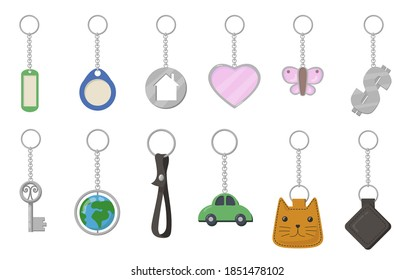Keychains and keyrings set. Heart, butterfly, cat, car, earth shaped key fobs isolated on white background. Vector illustration for trinket, souvenir, opening door, property rent concept