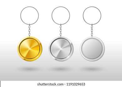 Keychains. Realistic metal and plastic round keyring holder. Rounded gold, chrome and steel door ring keyholder chain, home and car locked rings access or souvenir. Vector isolated icons mockup set