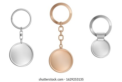 Keychains set. Metal round keyring holders isolated on white background. Gold, chrome, silver or steel colored accessories or souvenir trinket mockup. Realistic 3d vector illustration, icon, clip art