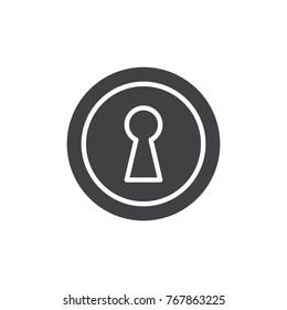 Keyhole icon vector, filled flat sign, solid pictogram isolated on white. Key hole symbol, logo illustration.