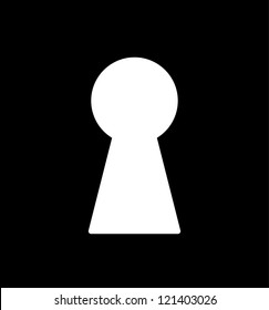 Keyhole illustration with black background, silhouette