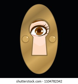Keyhole peeking female eye looking mystery spy privacy concept