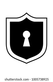Keyhole in a shield black icon or logo